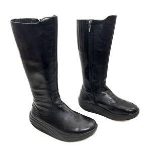 "MBT ""Maja"" Black Leather Knee High Zip-Up Boots"